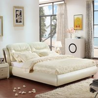 Wholesale Ai yi furniture software manufacturers selling leather bed double bed on sale high grade leather bed