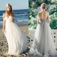 light blue wedding dress - 2015 sexy elegant vintage white light blue pleated tulle romantic off the shoulder sleeves backless boho beach evening prom wedding dress