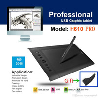 Wholesale Huion H610 Pro LPI Resolution Levels Art Graphics Drawing tablet With Rechargeable Pen For Windows Mac OS Free shiping