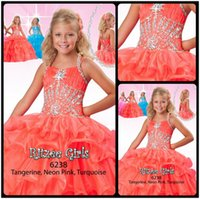 Wholesale Cute Kinds - 2016 Cute Sweet Kinds Formal Wear Dresses Coral Halter Neck Beaded Crytals Ball Gown Cute Girls Pageant Dresses Size