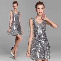 latin dress - Dance dress Sequin stage wear jazz latin Modern dance performance dress formal attire skirt