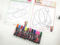 Wholesale 50PCS big hero baymax coloring book sticker Watercolor pen set puzzle Set kids stick painting brush watercolor pen