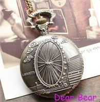 london necklace - DH109 Vintage Brown London Eye Ferris Wheel Pocket Watch Necklace dandys