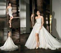 Cheap Detachable Train Skirt One Shoulder White Ivory Short Mini Demetrios Wedding Dress Formal Bridal Gown AQ2179