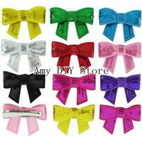 Wholesale Bulk Order Sequin Bow With Clips For DIY Crafting Supplies Boutique Hair Accssories