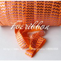 fold over elastic - 5 quot fold over elastic ribbon orange pink foil chevron printed ribbon for children s accessories yards roll