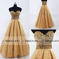 Wholesale Cheap Gold Sequins Long Prom Gowns Sweetheart Floor length Lace up Tulle In Stock A Line Formal Evening Dresses Real Image SD033