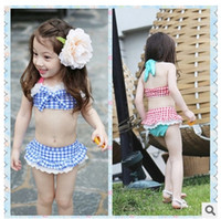 Wholesale Summer Baby Swimsuit Bikini Infant Swim Bathing Suit Skirt Costume Swimwear Straps Plaid Printed For Girls Kids ruffled swimwear swimsuit