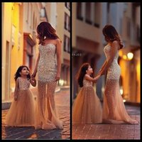 black and white flower girl dresses - 2016 Gorgeous Mother And Daughter Matching Dresses Mermaid Tulle Pearls Prom Dress Elegant Long Formal Evening Dress Flower Girls Dresses