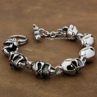 Wholesale Various Lengths L Stainless Steel Mens Skull Biker Bracelet L018