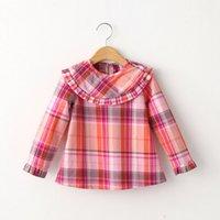 Cheap girls long sleeve top 2015 autumn cotton children t-shirts purple green blue red fashion cute kids tees child blouse
