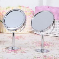 Wholesale Silver Lady Beauty Make Up Cosmetic Double Side Normal Magnifying Stand Mirror