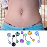 aqua barbells - Fashion Mix Color Stainless Acrylic Ball Barbell Bar Navel Belly Button Ring V1NF