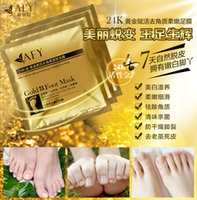 Wholesale DHL AFY Gold Foot Mask k Gold Revitalizing Exfoliating Softening Feet Mask Remove Dead Cells Prevent Cracked Feet Tendering