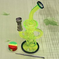 bent smoking pipes - Newest Colored glass bong with Domeless Titanium nail Faberge Water pipe Glass Bongs Water Pipes Recycler Filter Percolators Smoking