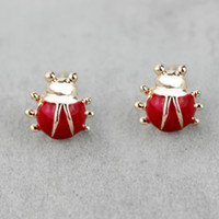 cheap price jewelry - 1cm red ladybug stud earrings set cheap price fashion jewelry for girls women korean style jewellery