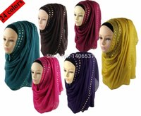 beautiful hijabs - PHCH001 New cotton scarf with rivets beautiful hijab shawl muslim scarves hijabs Pick Colors