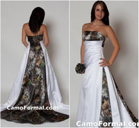 Wholesale 2015 Strapless Camo Wedding Dress with Pleats Empire Waist A line Sweep Train Realtree Camouflage Bridal Gowns dhyz
