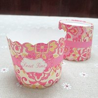 Wholesale High temperature cup muffin cup cake baking cups paper cups Pink printing muffin cup paper muffin cupcake box