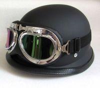 Wholesale 2016 German Style DOT Approved Half face Motorcycle Helmet military helmet Chopper Cruiser Carbon fiber Matt Black with glass