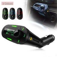 Wholesale Car Kit MP3 Player Wireless FM Transmitter Modulator USB SD MMC LCD Remote Blue Red Black DHL Free