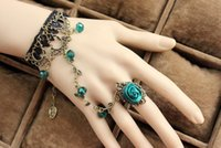 flower bracelet - Hot Selling Fashion Vintage Lady Handmade Jewelry Gothic Lace Flower Finger Ring Charm Bracelet With crystal and rose