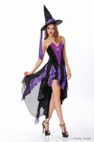 bewitched costumes - Deluxe Bewitching Beauty Costume Enchantress Cosplay Sexy Halloween Costumes Black And Purple Witch Dresses By DHL