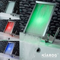 Wholesale KiaRog Colors Changed led faucet Temperature Sensor Water Powered led Tap Bathroom Deck Mounted Waterfall Basin Sink Mixer Tap