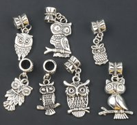 animal metal plates - New Antique Silver styles Assorted Bird Owl Dangle Big Hole Beads Fit European Charm Bracelet B1563 B993