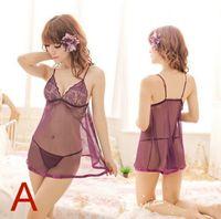 Lace babydolls lingerie wholesale - 2016 Sexy Women Lingerie Erotic Costumes Lace Nightwear Transparent Sleep Dress Babydolls Plus Size G string Underwears
