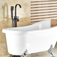Wholesale And Retail Modern Oil Rubbed Bronze Bathroom Tub Faucet Floor Mounted Tub Filler W Hand Shower Swivel Spout