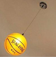 basketball savings - Modern fashion glass basketball E27 pendant light hanging wire basketball child room AC110 v
