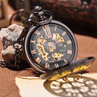 antique skeleton - 2015 Watch Men Luxury Brand Mechanical Pocket Watch With Necklace Skeleton Watches Fashion Men s Antique Pocket Watch