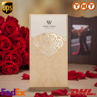 Wholesale Luxury Wedding Invitations Golden Hollow Custom Champagne Purple Wedding Invitations Foil Stamping Uneven Best Wedding Invitations CW2002