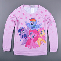 kids cartoon clothing - Retail T T kids cartoon T shirts Fall My Little Pony girls clothing long sleeve House printed t shirts children clothes HX