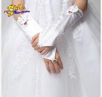 Cheap Wholesale-Girls Princess dress accessories fingerless satin gloves