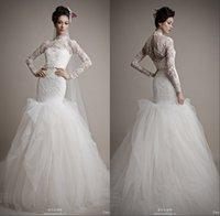 Cheap Luxury Long Sleeves High Neck Winter Muslim Wedding Dresses Mermaid Open Back Full Length Tulle Skirts Vintage Wedding Dress Bridal Gown HDY