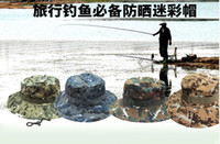 Wholesale 2016 Summer Style Outdoor cap Men Women Camouflage Fishing Hat Bucket Gorras Fisherman Carp Fishing Cap
