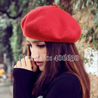 free shipping paypal - spring winter wool beret hats female flat beanie caps for women boina feminina accept paypal