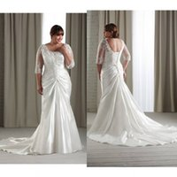A-Line 3 4 sleeve plus size wedding dresses - 2015 Plus Size Lace Appliques Backless Wedding Dress With V Neck Long Sleeve Beach Wedding Dresses A Line Long Cheap Bridal Gowns