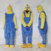 Cheap New Arrival Hot Despicable Me Minion Romper Onesies Pajamas Jumpsuit Hoodies Adults Cosplay Costumes for Halloween and Carnival