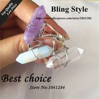 crystal quartz double point - Double Agate Points Adjustable Rings Wire Wrapped natural Crystal opal clear clear Quartz Point women Silver druzy Ring