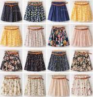 Wholesale NEW WOMEN SUMMER SKIRT CASUAL CUTE ABOVE KNEE MINI SHORT CHIFFON SKIRTS WOMAN INTERLINING NAVY BLUE BLACK YELLOW PINK RED
