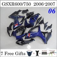 Precio de Suzuki gsxr750 fairing-2006 2007 06 07 K6 GSXR750 GSXR600 la motocicleta carenado Kit para Suzuki GSXR 600 en el año 2006 a 2007 750 Negro Azul Oscuro ABS Carenado + 7 regalos