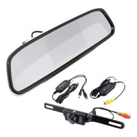 "Cheap Free Shipping!DIY Rear View Kit Wireless IR Reverse Car Backup Camera W 4.3"" Mirror Monitor"