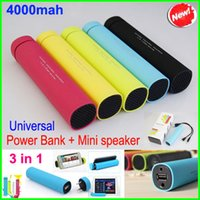 banks tube - 3 in Colorful mAh Mobile Power Bank With Stereo Speaker Tube Speakers Cellphone Stand Holder Charger External Battery Chargers