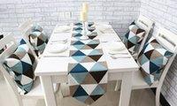 Wholesale Prague Modern Minimalist Geometric Patterns Printed Cotton Table Runner European Style Coffee Table Manteles Para Mesa Placemats Blue