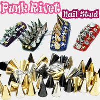 Wholesale Silver Gold Black Nail Stud Punk Rivet Cone Spikes ABS Bead DIY Accessories for Bag Leather craft Glue on beads Clothes