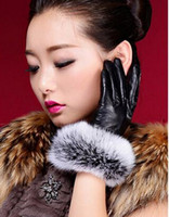 Wholesale Hot Womens winter leather gloves Thick velvet lining Fashion Warm Gloves Color