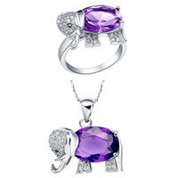 amethyst pendents - Sale Silver Elephant Necklace Ring Elephant Pendents Purple Crystal Jewelry Girl Women Jewelry Set T378